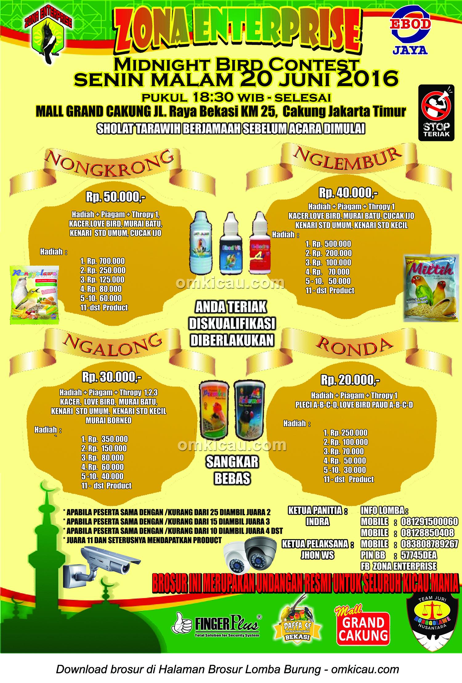 Brosur Zona Enterprise Midnight Bird Contest, Jakarta Timur, 20 Juni 2016