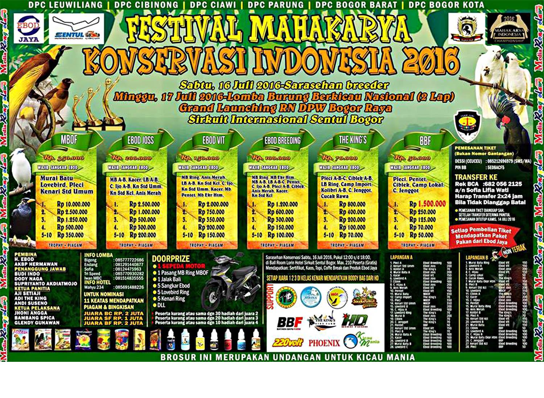 Brosur Festival Mahakarya Konservasi Indonesia 2016, Bogor, 17 Juli 2016