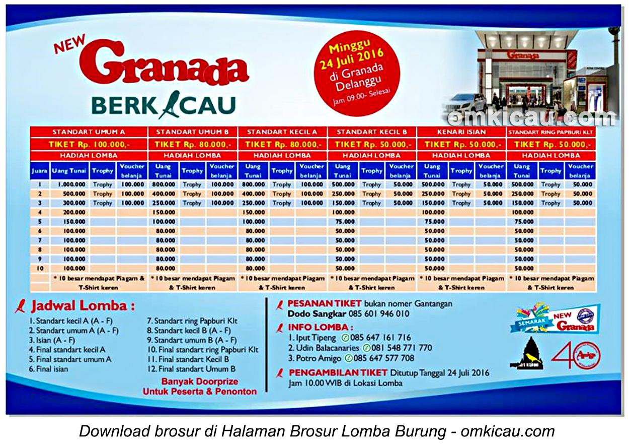 Brosur Kontes Kenari New Granada Berkicau, Klaten, 24 Juli 2016