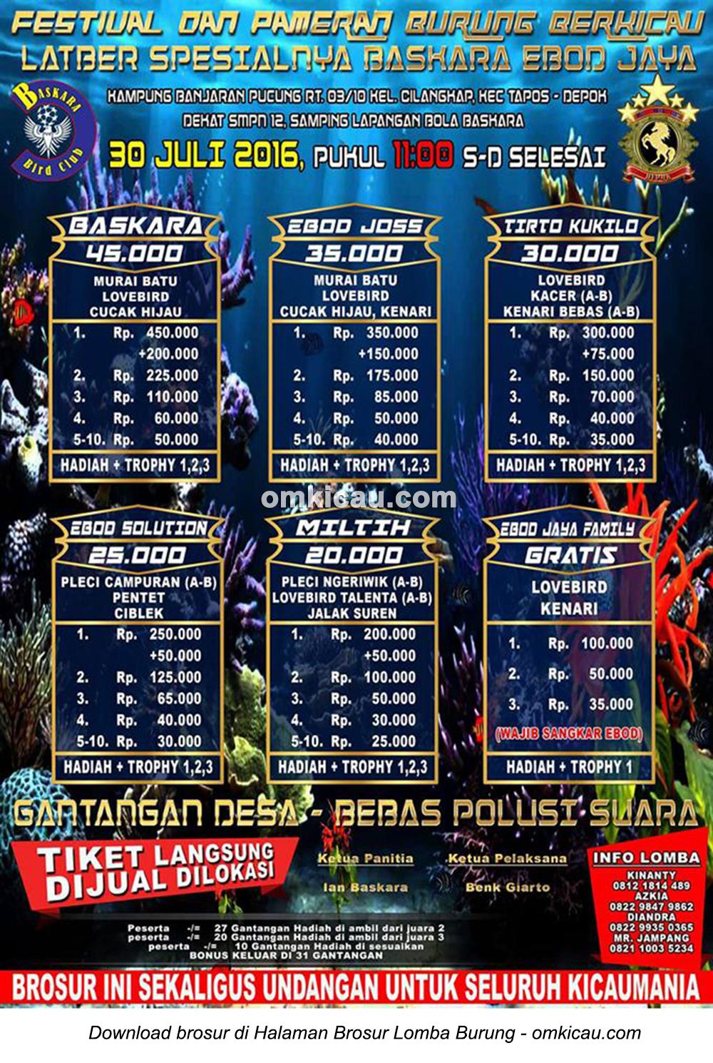Brosur Latber Sesial Baskara Ebod Jaya, Depok, 30 Juli 2016