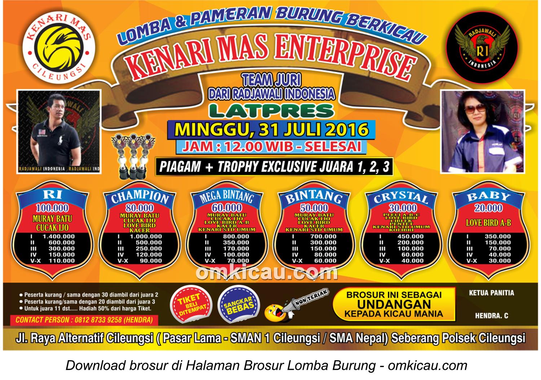 Brosur Latpres Burung Berkicau Kenari Mas Enterprise, Bogor, 31 Juli 2016