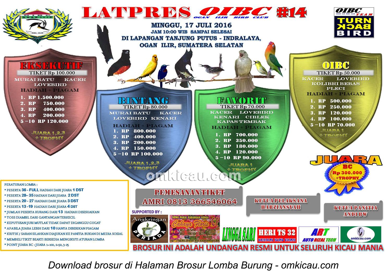 Brosur Latpres Burung Berkicau OIBC #14, Ogan Ilir, 17 Juli 2016