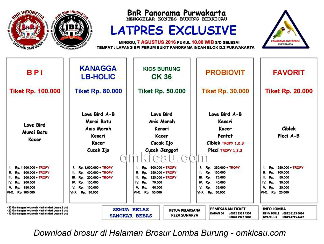 Brosur Latpres Exclusive BnR Panorama Purwakarta, 7 Agustus 2016