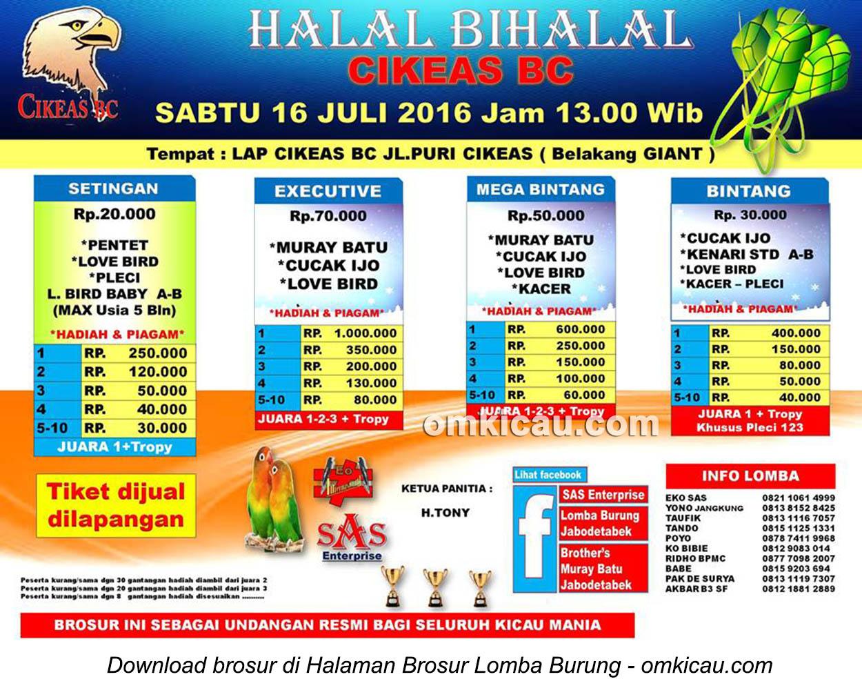 Brosur Latpres Halal Bihalal Cikeas BC, Cikeas, 16 Juli 2016