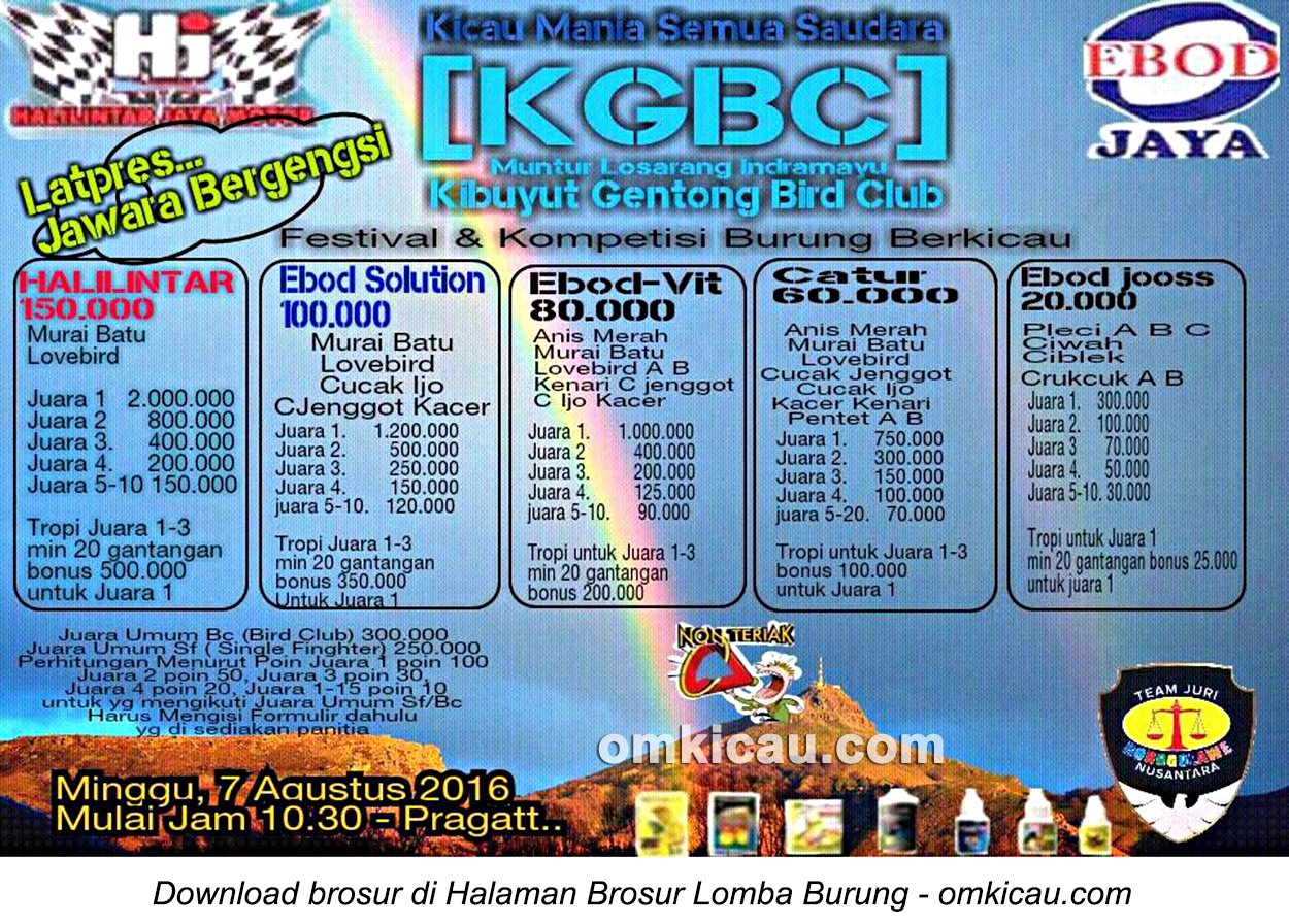 Brosur Latpres Jawara Bergengsi KGBC, Indramayu, 7 Agustus 2016