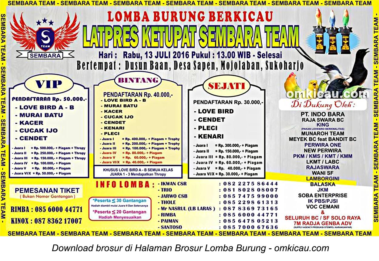 Brosur Latpres Ketupat Sembara Team, Sukoharjo, 13 Juli 2016
