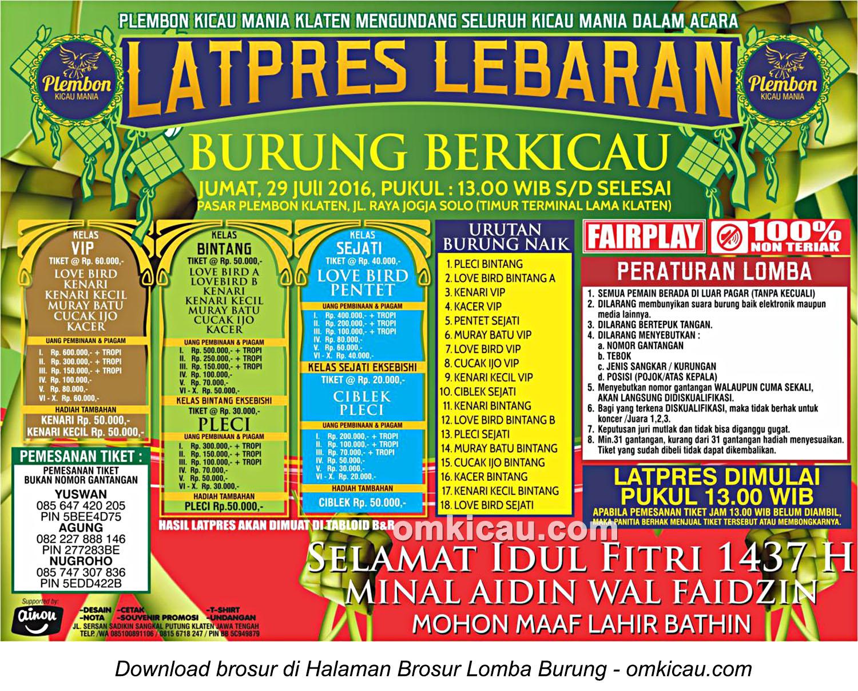 Brosur Latpres Lebaran Plembon Kicau Mania, Klaten, 29 Juli 2016