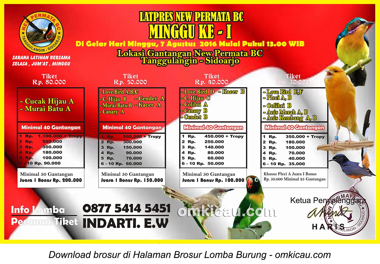 Brosur Latpres Minggu Ke-1 New Permata BC, Sidoarjo, 7 Agustus 2016