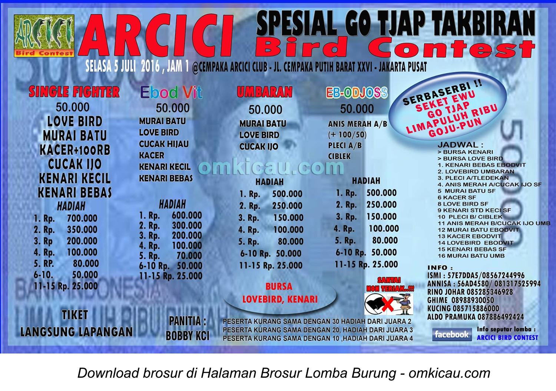 Brosur Latpres Spesial Go Tjap Takbiran Arici Bird Contest, Jakarta Pusat, 5 Juli 2016