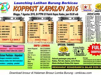 Brosur Launching Latihan Burung Berkicau Koppast Kapasan, Kudus, 7 Agustus 2016
