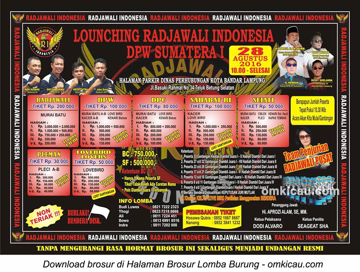 Brosur Launching Radjawali Indonesia DPW Sumatera I, Bandarlampung, 28 Agustus 2016