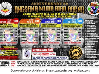 Brosur Lomba Burung Berkicau Anniversary #2 Angsana Muda Bird Arena, Cilacap, 21 Agustus 2016