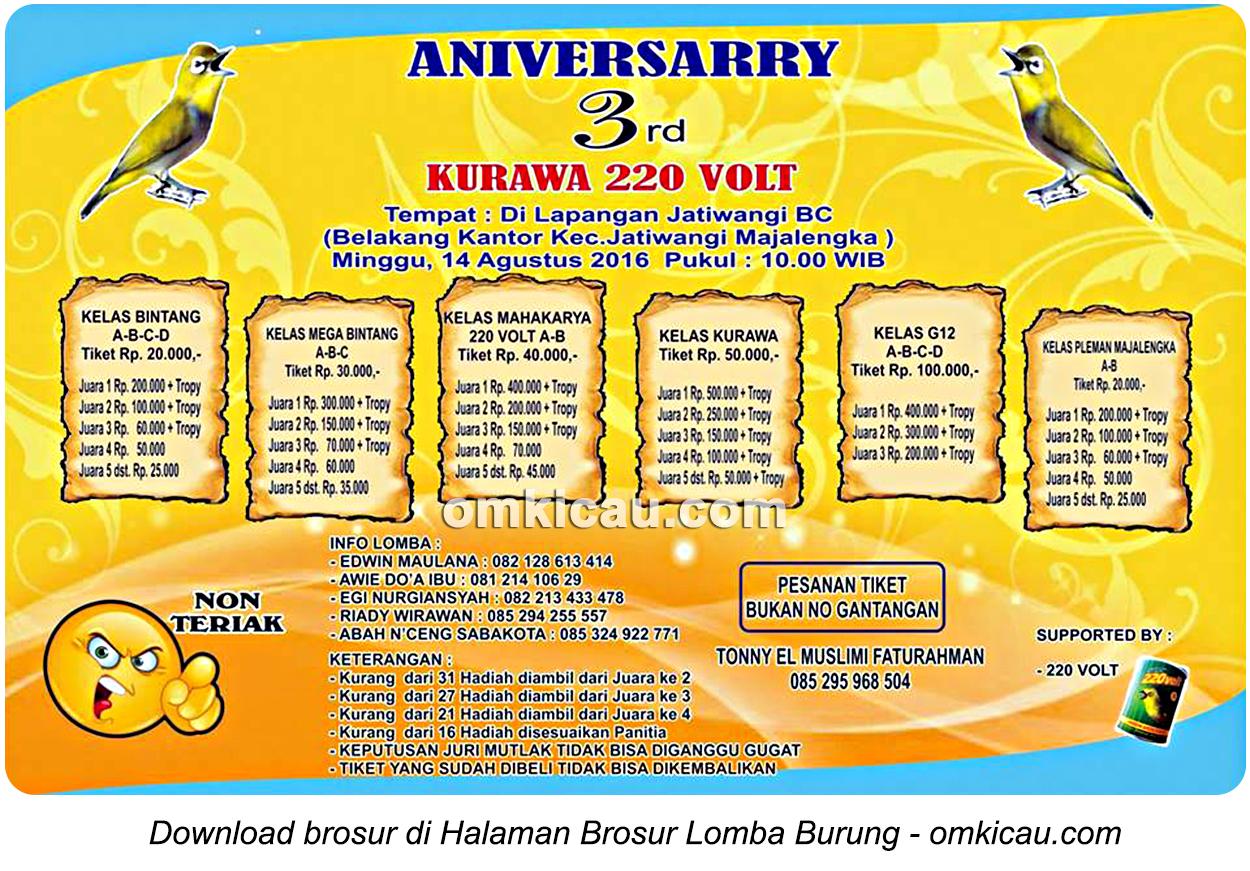 Brosur Lomba Burung Berkicau Anniversary 3d Kurawa 220 Volt, Majalengka, 14 Agustus 2016