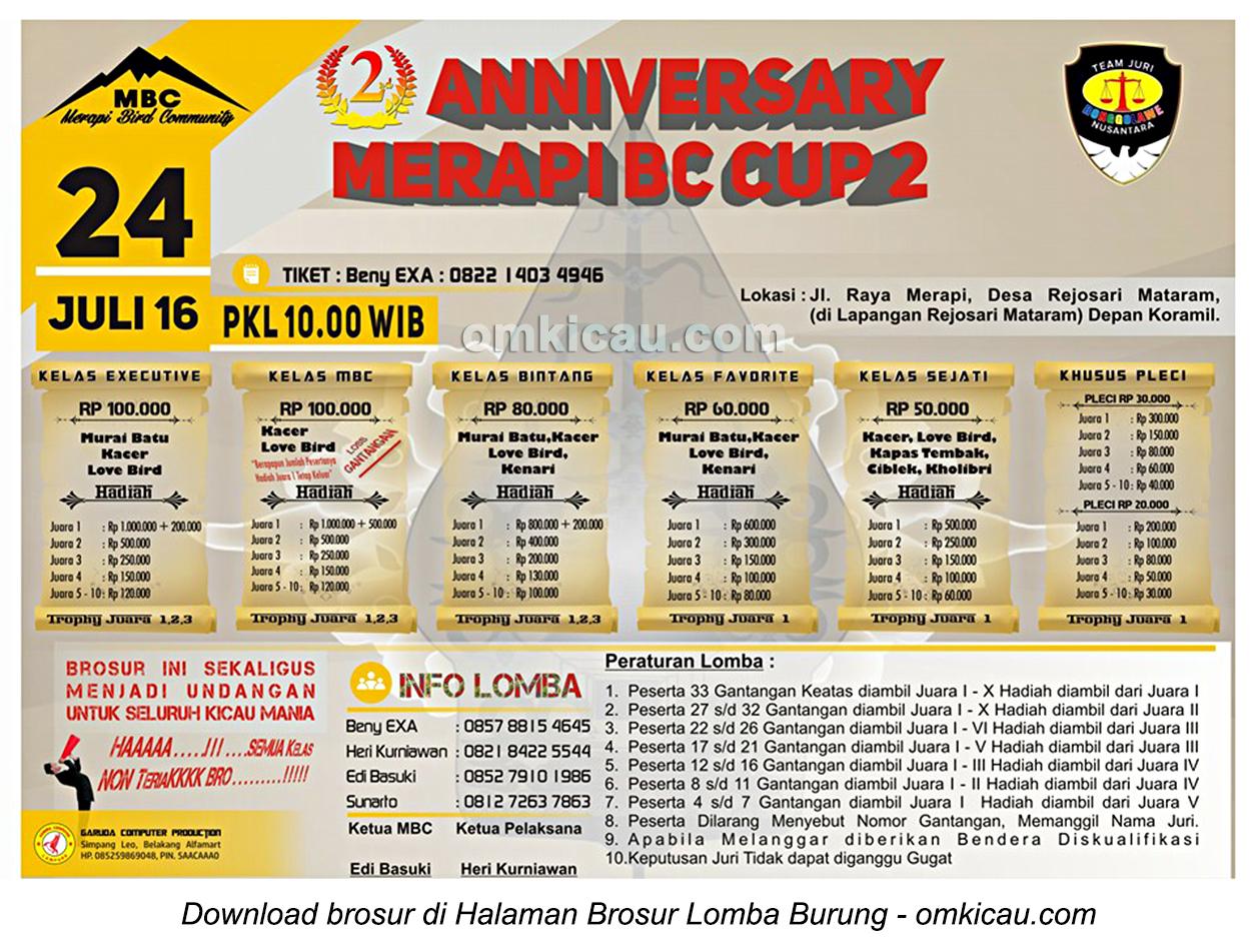 Brosur Lomba Burung Berkicau Anniversary Merapi BC Cup 2, Lampung Tengah, 24 Juli 2016
