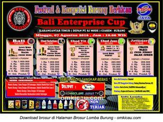 Brosur Lomba Burung Berkicau Bali Enterprise Cup, Subang, 7 Agustus 2016