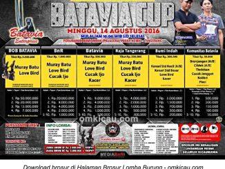 Brosur Lomba Burung Berkicau Batavia Cup, Tangerang, 14 Agustus 2016