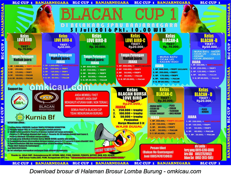 Brosur Lomba Burung Berkicau Blacan Cup 1, Banjarnegara, 31 Juli 2016