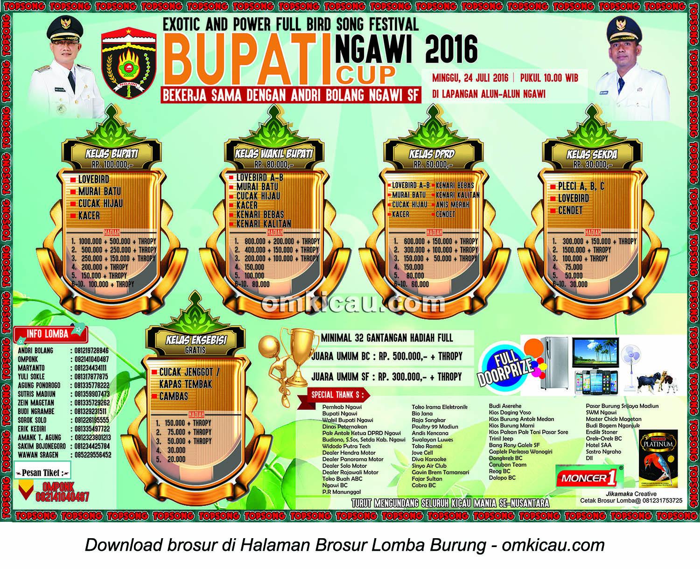 Brosur Lomba Burung Berkicau Bupati Ngawi Cup 2016, Ngawi, 24 Juli 2016