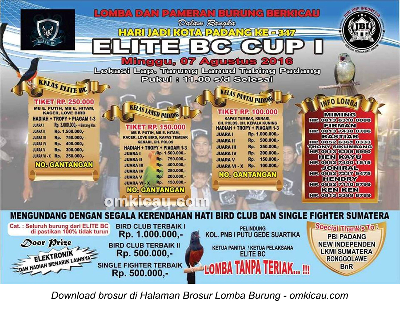 Brosur Lomba Burung Berkicau Elite BC, Padang, 7 Agustus 2016