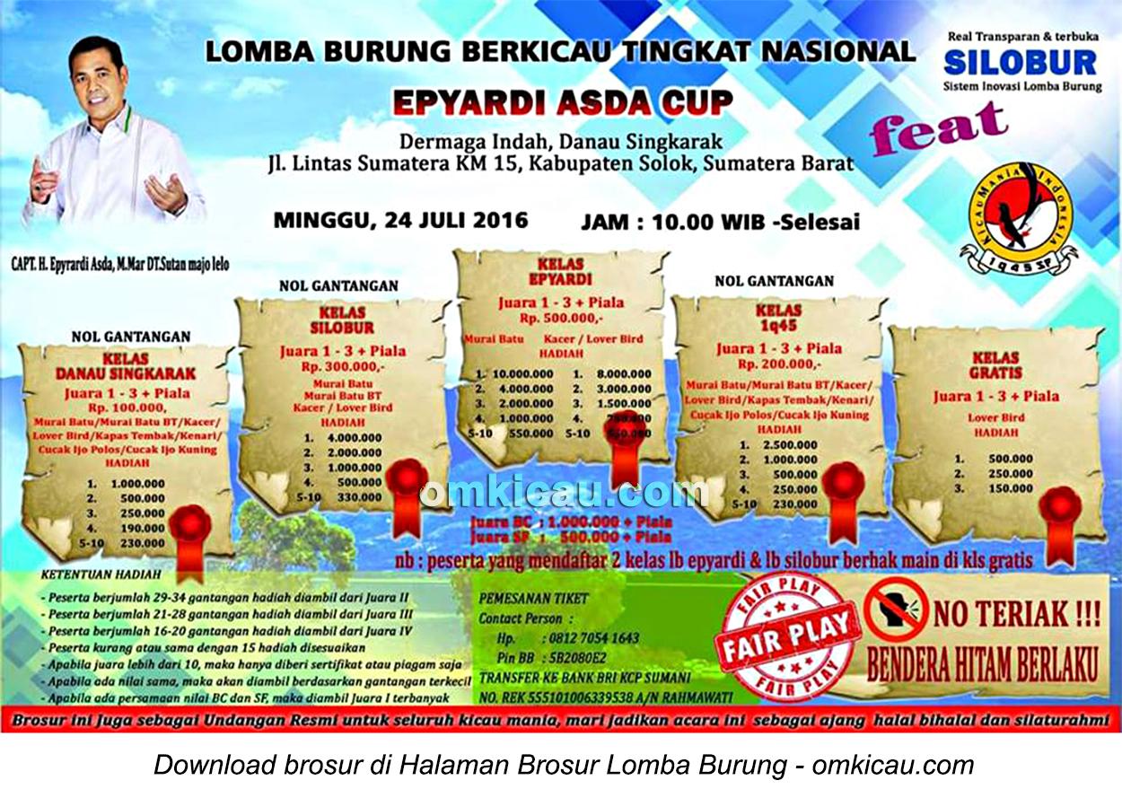 Brosur Lomba Burung Berkicau Epyardi Asda Cup, Solok, 24 Juli 2016