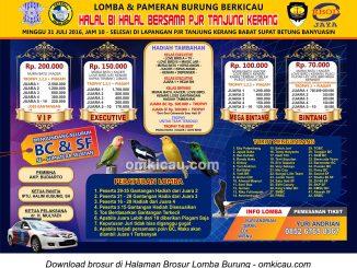 Brosur Lomba Burung Berkicau Halal Bi Halal bersama PJR Tanjung Kerang, Banyuasin, 31 Juli 2016