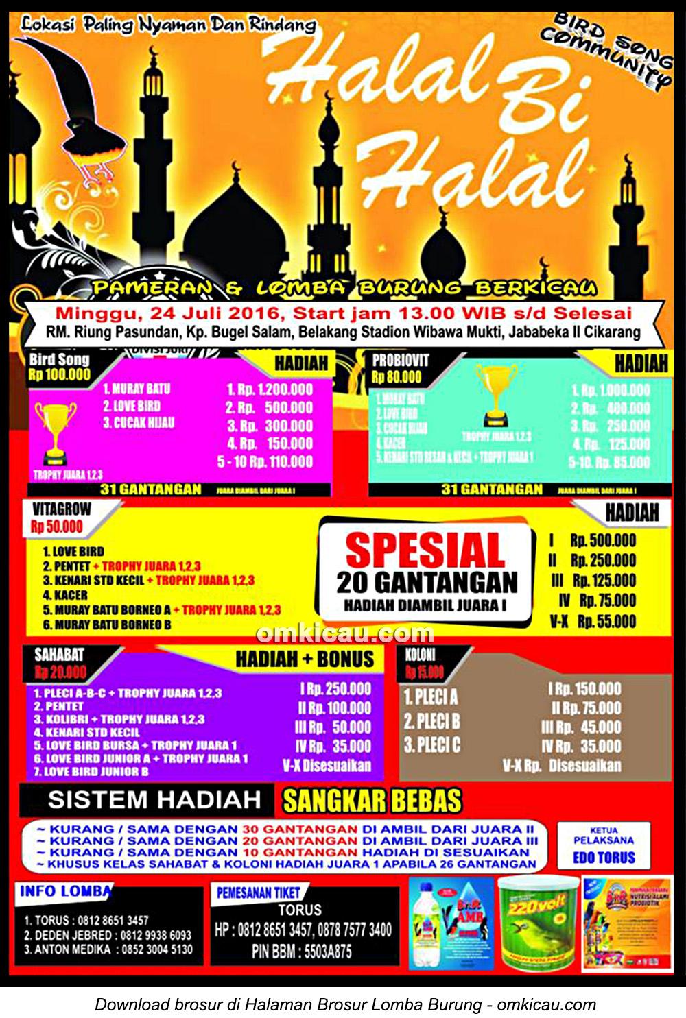 Brosur Lomba Burung Berkicau Halal Bi Halal Bird Song Community, Cikarang, 24 Juli 2016
