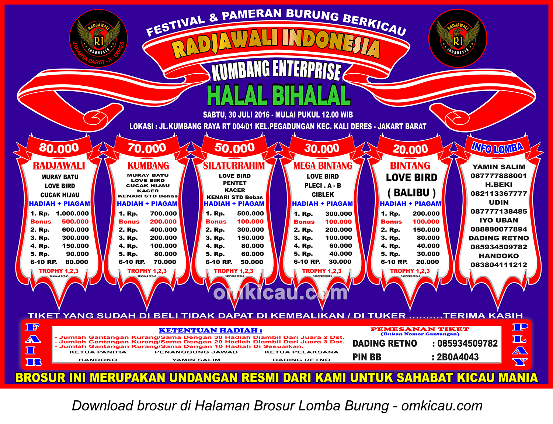 Brosur Lomba Burung Berkicau Halal Bihalal Kumbang Enterprise, Jakarta Barat, 30 Juli 2016