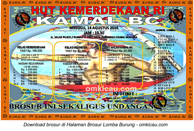 Brosur Lomba Burung Berkicau HUT Kemerdekaan RI-Kamal BC, Bangkalan, 14 Agustus 2016