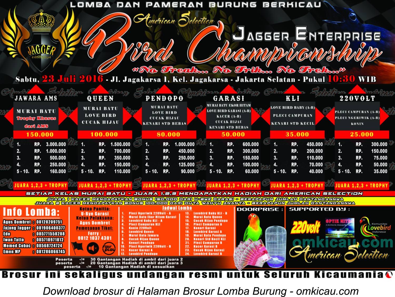 Brosur Lomba Burung Berkicau Jagger Enterprise Bird Championship, Jakarta Selatan, 23 Juli 2016