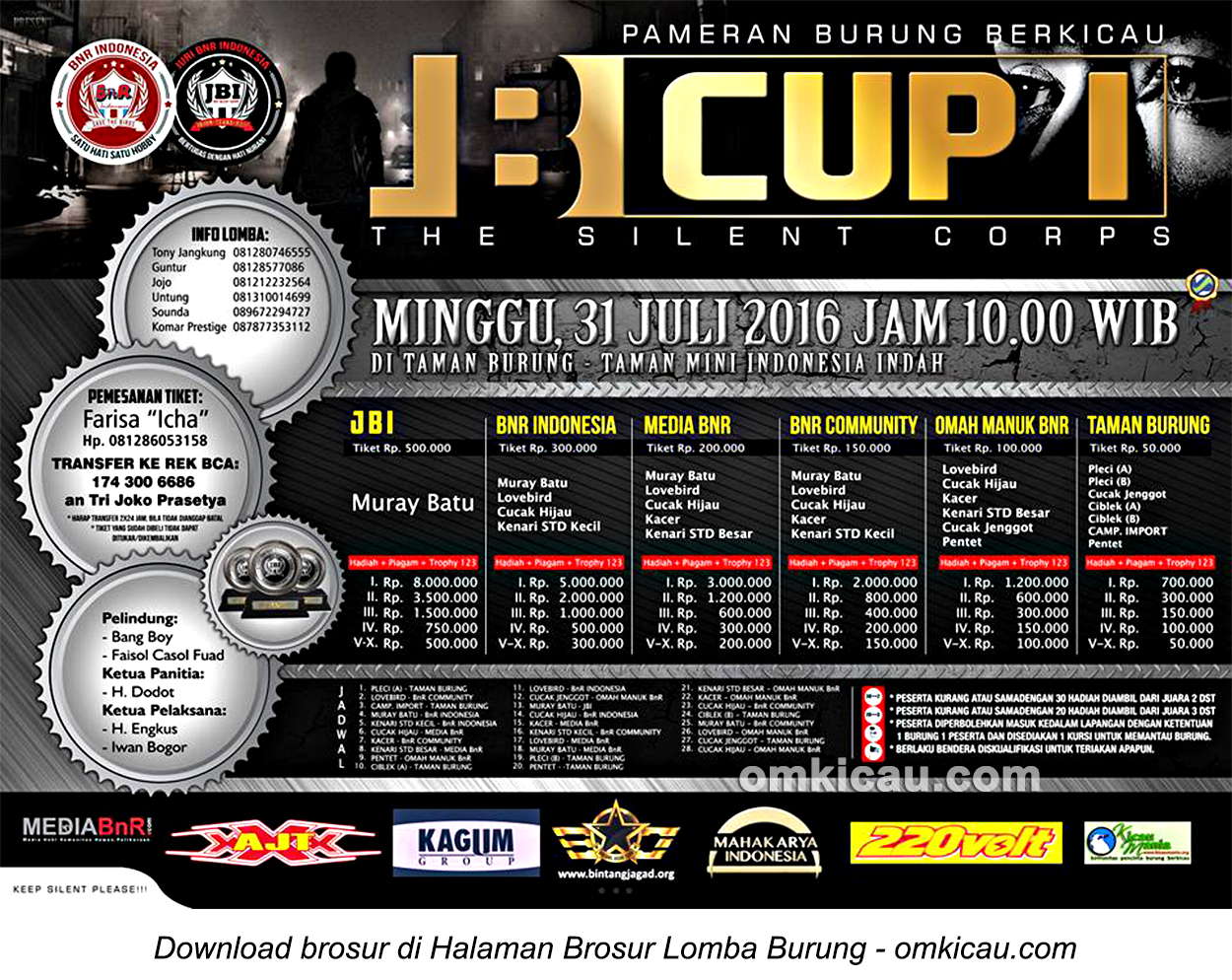 Brosur Lomba Burung Berkicau JBI Cup 1, Jakarta, 31 Juli 2016
