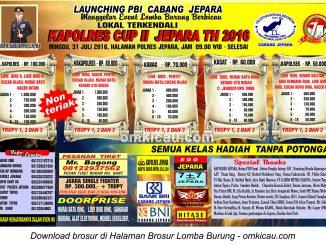 Brosur Lomba Burung Berkicau Kapolres Cup II Jepara, 31 Juli 2016