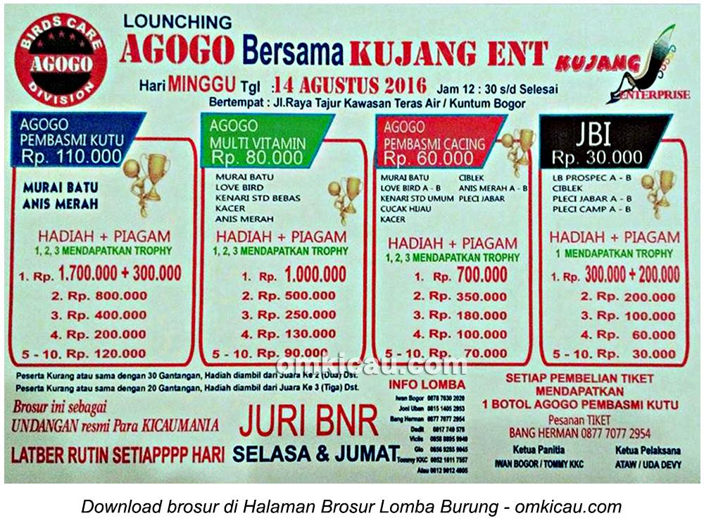 Brosur Lomba Burung Berkicau Launching Agogo bersama Kujang Ent, Bogor, 14 Agustus 2016