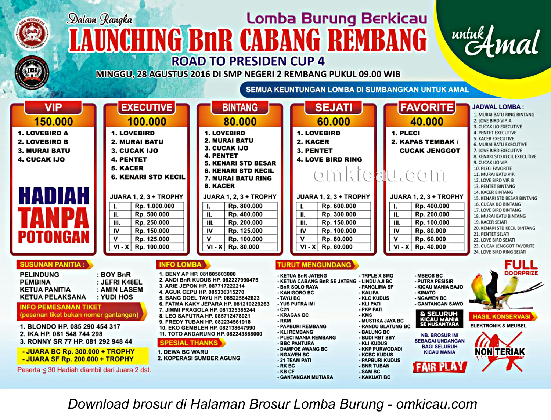 Brosur Lomba Burung Berkicau Launching BnR Cabang Rembang, 28 Agustus 2016