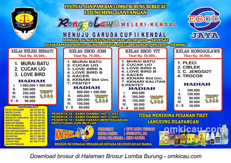 Brosur Lomba Burung Berkicau Launching Gantangan Ronggolawe Weleri-Kendal, 14 Agustus 2016