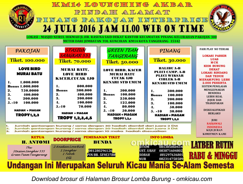 Brosur Lomba Burung Berkicau Launching Pinang Pakojan Enterprise, Tangerang, 24 Juli 2016