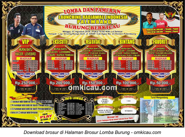Brosur Lomba Burung Berkicau Launching Radjawal Indonesia Palembang, 7 Agustus 2016