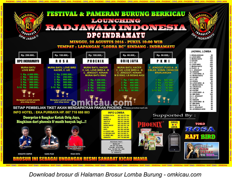 Brosur Lomba Burung Berkicau Launching Radjawali Indonesia DPC Indramayu, 28 Agustus 2016