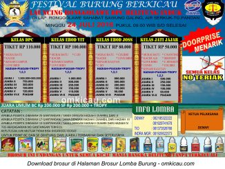 Brosur Lomba Burung Berkicau Launching Ronggolawe DPC Belitung Induk, Tanjung Pandan, 24 Juli 2016