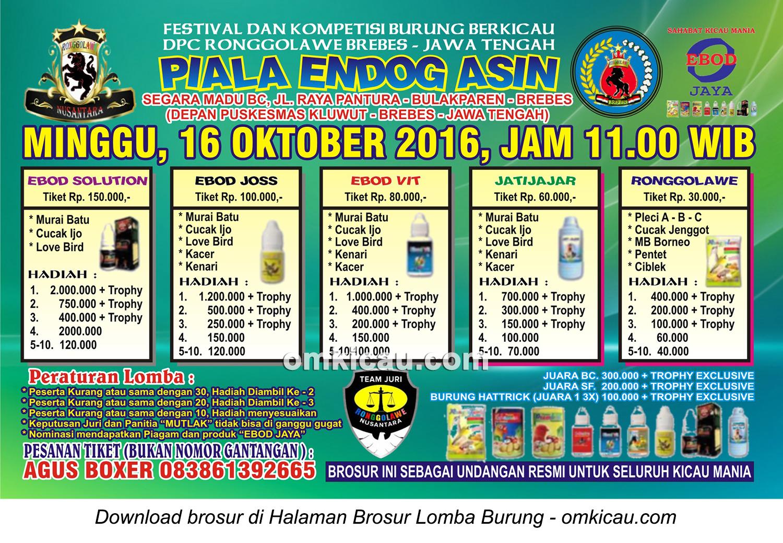 Brosur Lomba Burung Berkicau Piala Endog Asin, Brebes, 16 Oktober 2016