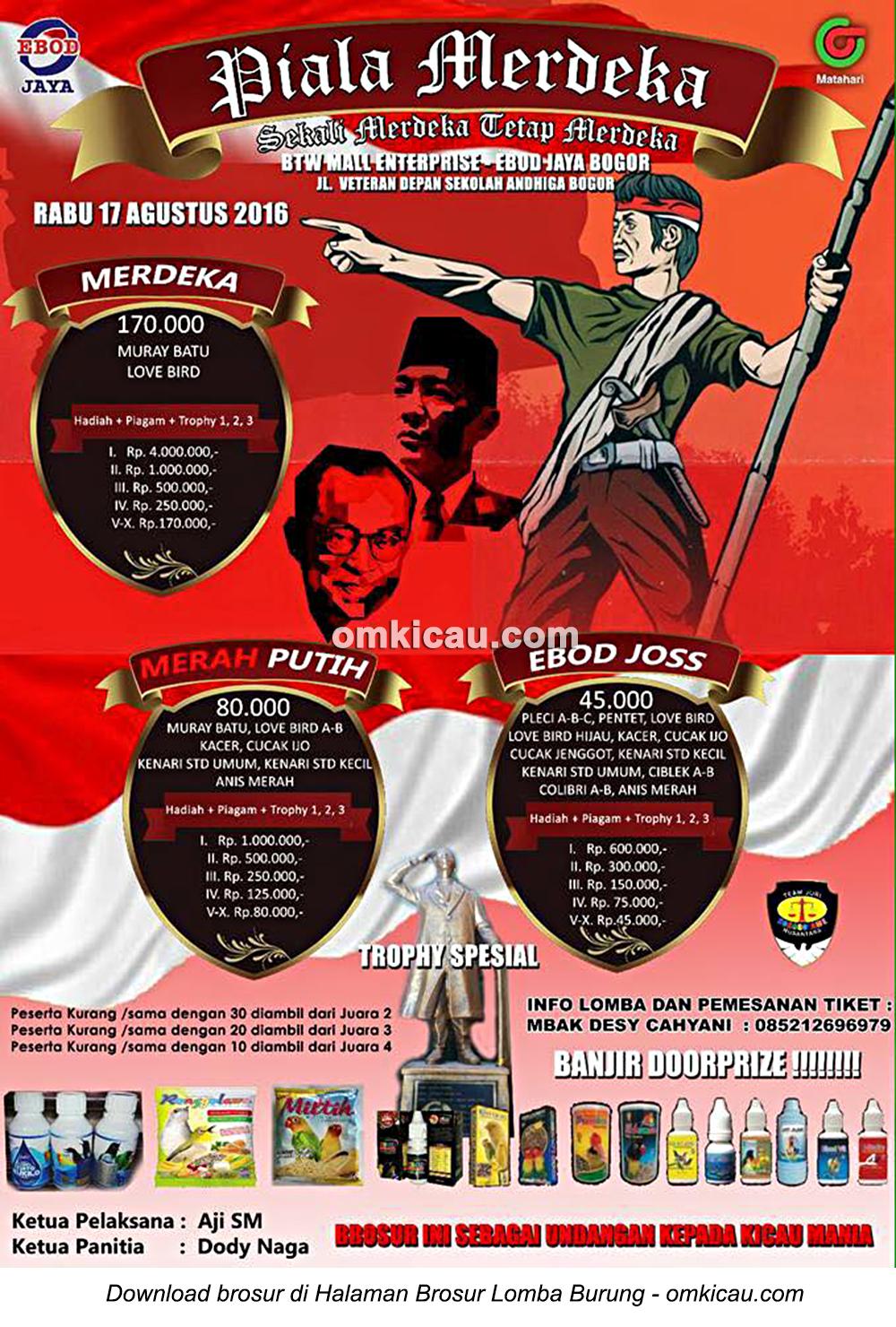 Brosur Lomba Burung Berkicau Piala Merdeka, Bogor, 17 Agustus 2016
