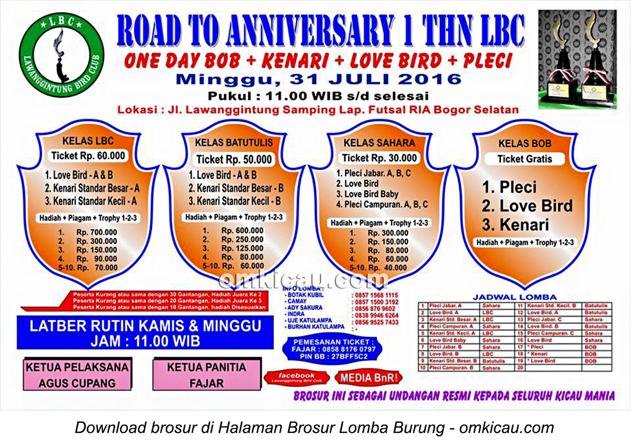 Brosur Lomba Burung Berkicau Road to Anniversary 1 Thn LBC, Bogor, 31 Juli 2016