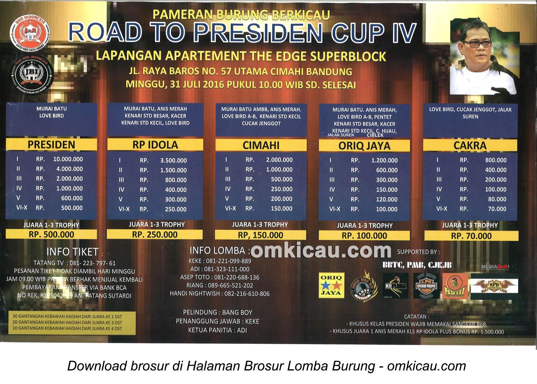Brosur Lomba Burung Berkicau Road to Presiden Cup IV, Bandung, 31 Juli 2016
