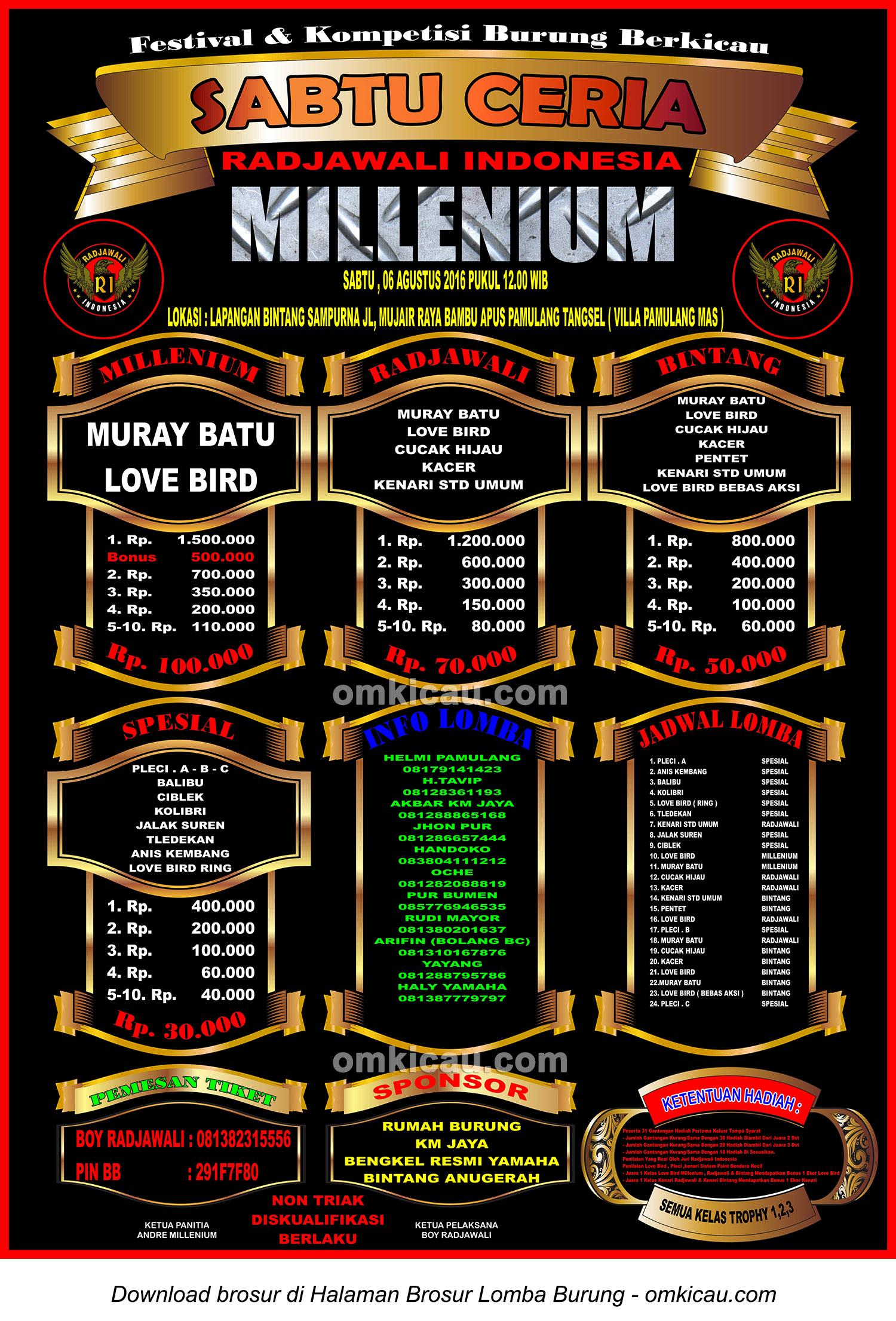 Brosur Lomba Burung Berkicau Sabtu Ceria Millenium, Tangerang Selatan, 6 Agustus 2016