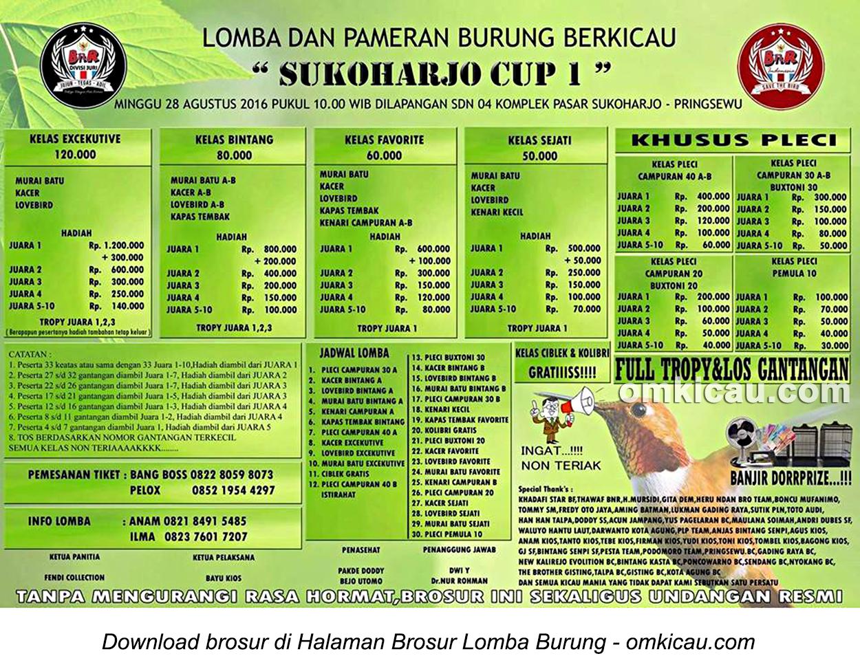 Brosur Lomba Burung Berkicau Sukoharjo Cup I, Pringsewu, 28 Agustus 2016