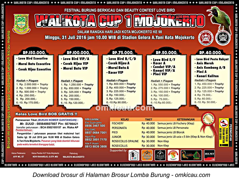Brosur Lomba Burung Berkicau Wali Kota Cup 1 Mojokerto, 31 Juli 2016