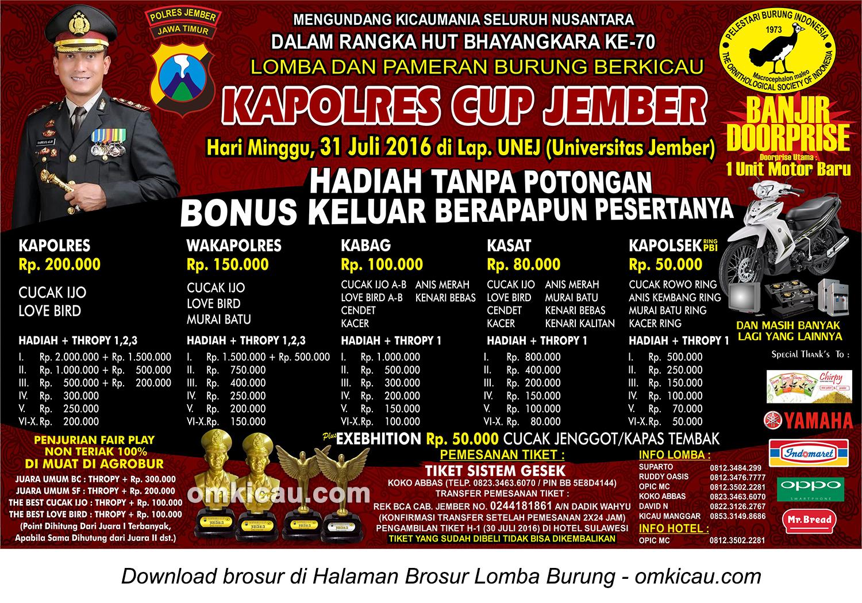 Brosur Revisi Lomba Burung Berkicau Kapolres Cup, Jember, 31 Juli 2016