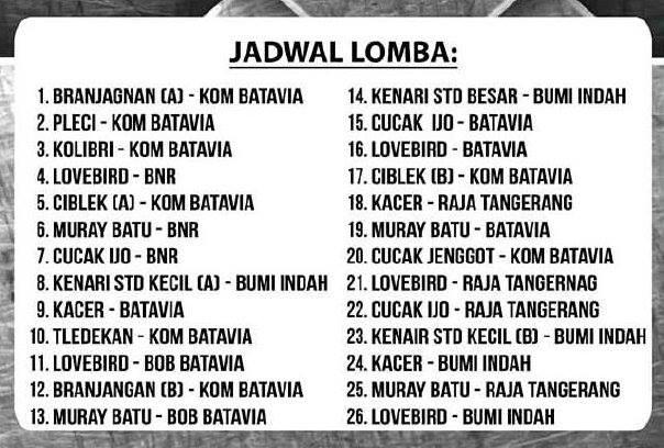 Jadwal Lomba Batavia Cup