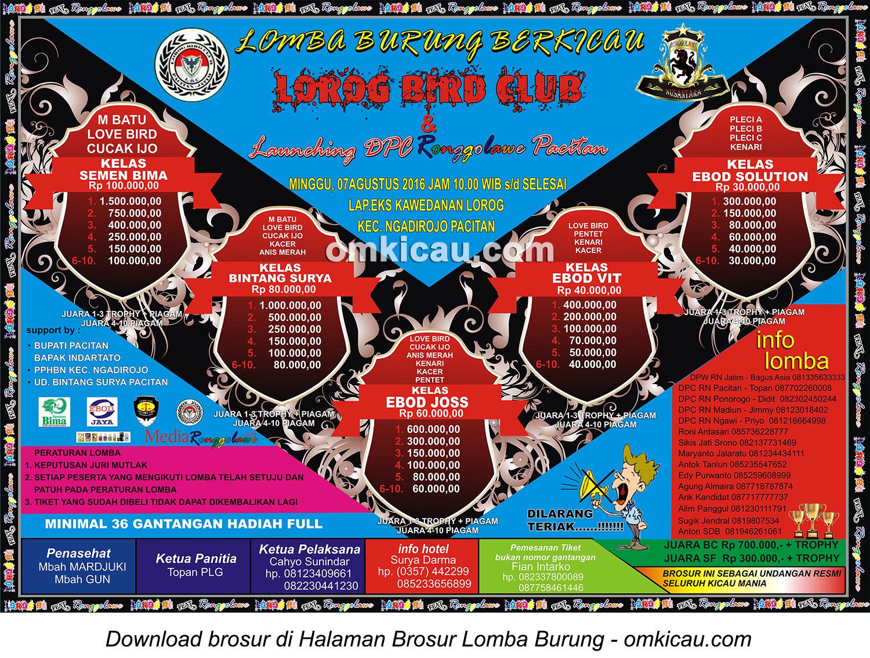 Lomba Burung Berkicau Lorog BC dan Launching DPC Ronggolawe Pacitan, 7 Agustus 2016