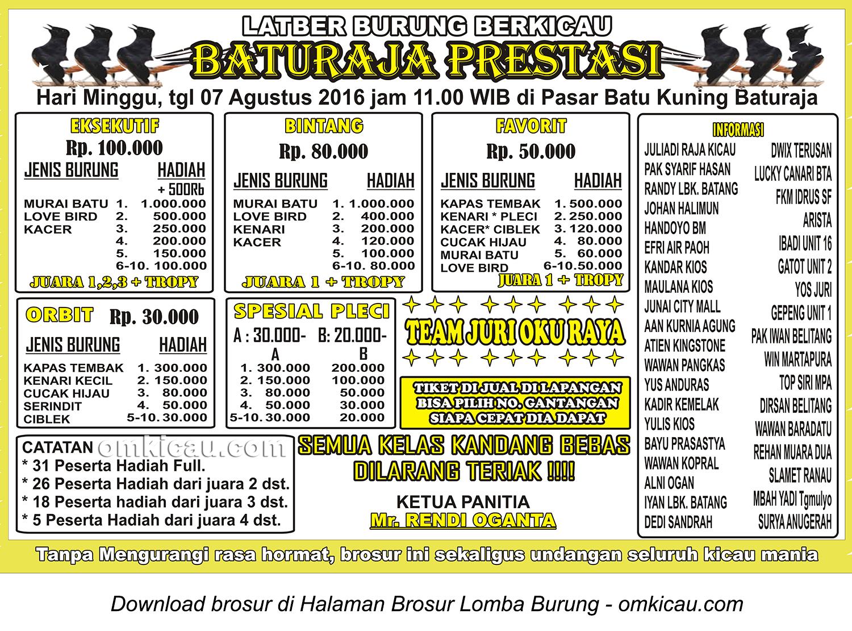 Brosur Latber Burung Berkicau Baturaja Prestasi, Baturaja, 7 Agustus 2016