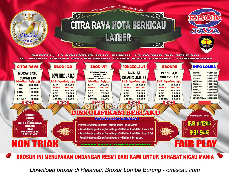 Brosur Latber Citra Raya Kota Berkicau, Tangerang, 13 Agustus 2016